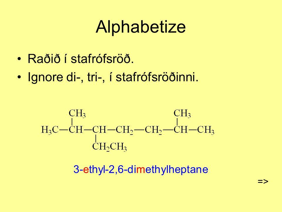 Alphabetize Raðið í stafrófsröð. Ignore di-, tri-, í stafrófsröðinni. 3-ethyl-2,6-dimethylheptane =>