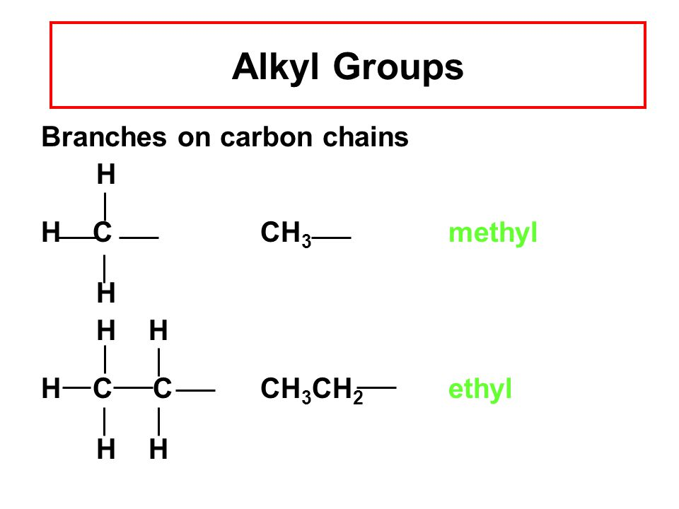 Alkyl Groups Branches on carbon chains H H C CH 3 methyl H H H H C C CH 3 CH 2 ethyl H H