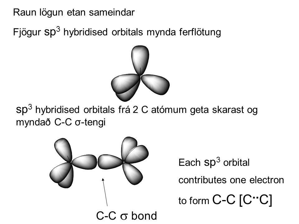 Fjögur sp 3 hybridised orbitals mynda ferflötung sp 3 hybridised orbitals frá 2 C atómum geta skarast og myndað C-C σ-tengi C-C  bond Each sp 3 orbital contributes one electron to form C-C [C..