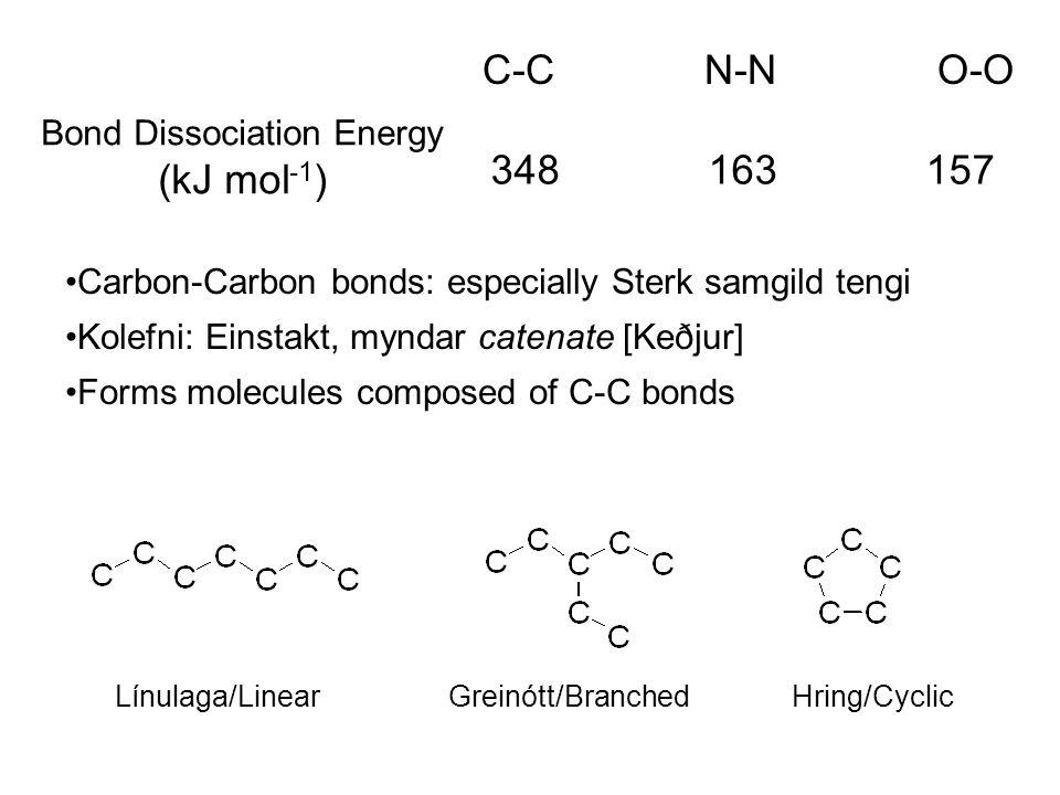 C-C N-N O-O Bond Dissociation Energy (kJ mol -1 ) 348 163 157 Carbon-Carbon bonds: especially Sterk samgild tengi Kolefni: Einstakt, myndar catenate [Keðjur] Forms molecules composed of C-C bonds Línulaga/Linear Greinótt/Branched Hring/Cyclic