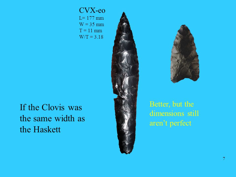 If the Clovis was the same width as the Haskett Better, but the dimensions still aren't perfect CVX-eo L= 177 mm W = 35 mm T = 11 mm W/T = 3.18 7