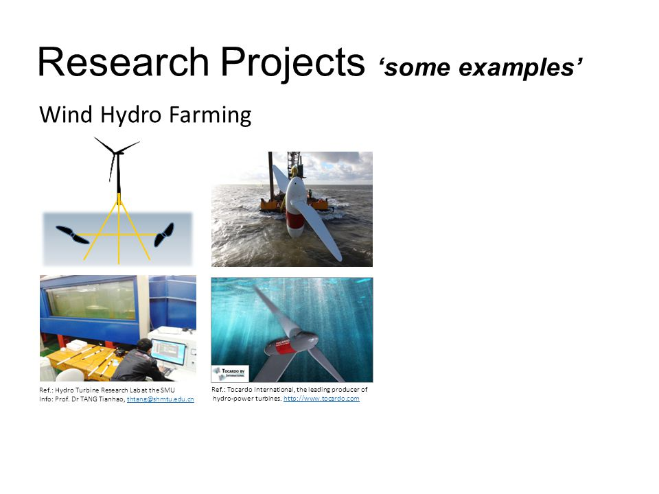 Research Projects 'some examples' Wind Hydro Farming Ref.: Tocardo International, the leading producer of hydro-power turbines.
