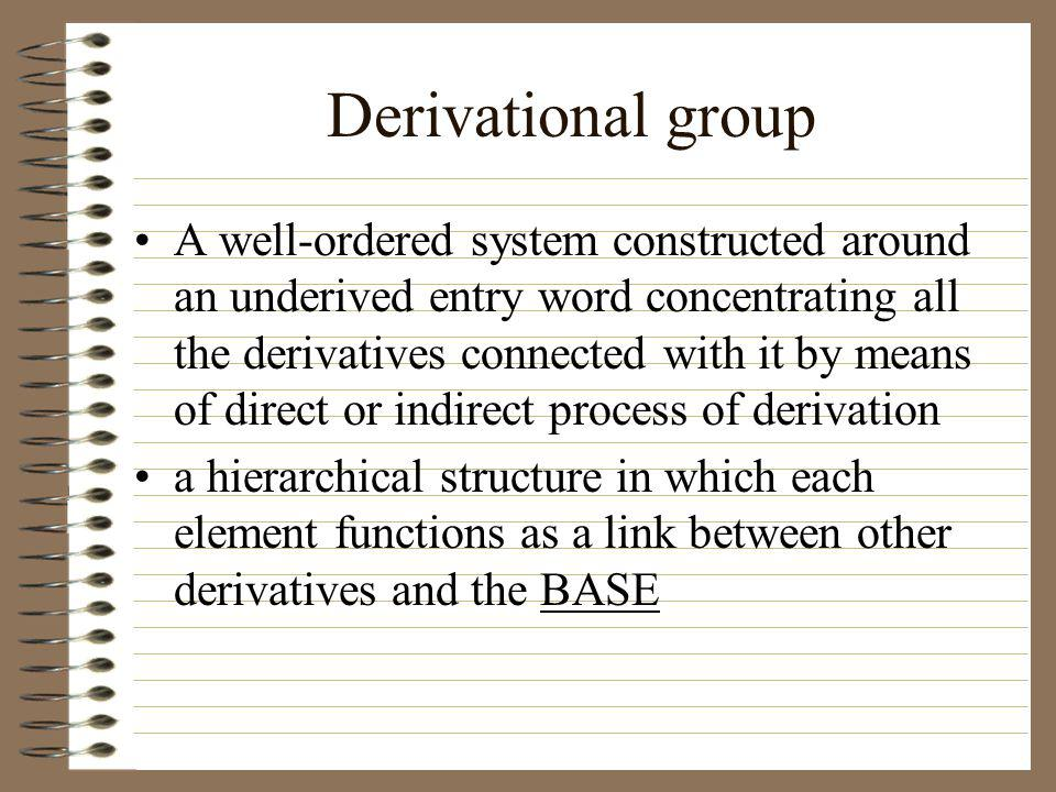 Derivational group A well-ordered system constructed around an underived entry word concentrating all the derivatives connected with it by means of direct or indirect process of derivation a hierarchical structure in which each element functions as a link between other derivatives and the BASE