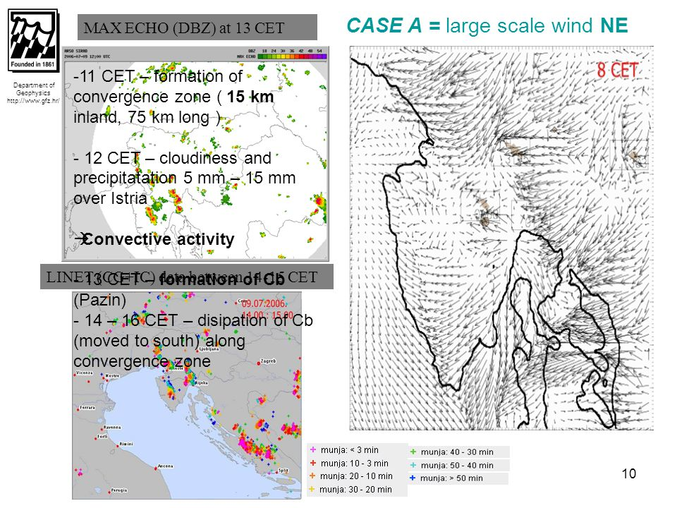 10 Department of Geophysics http://www.gfz.hr/ LINET (CG+IC) data between 14-15 CET MAX ECHO (DBZ) at 13 CET CASE A = large scale wind NE -11 CET – formation of convergence zone ( 15 km inland, 75 km long ) - 12 CET – cloudiness and precipitatation 5 mm – 15 mm over Istria  Convective activity - 13 CET – formation of Cb (Pazin) - 14 – 16 CET – disipation of Cb (moved to south) along convergence zone