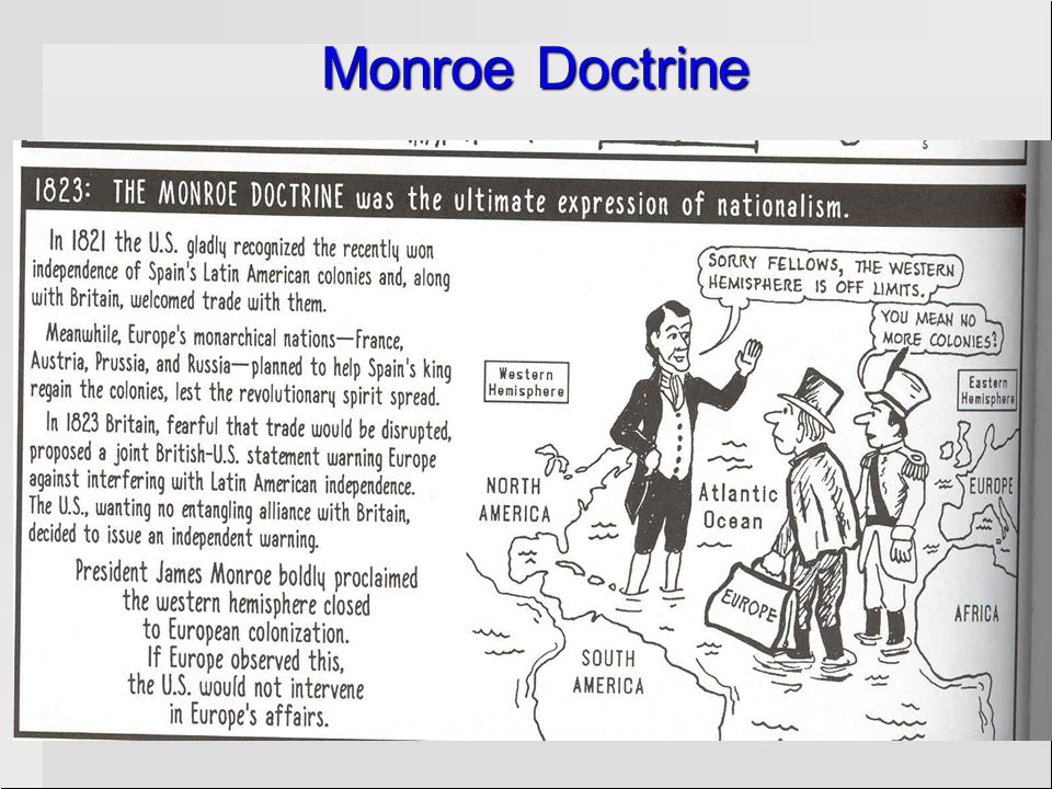 The Monroe Doctrine Created by President James Monroe in 1823Created by President James Monroe in 1823 Was addressed to European powers in case they p