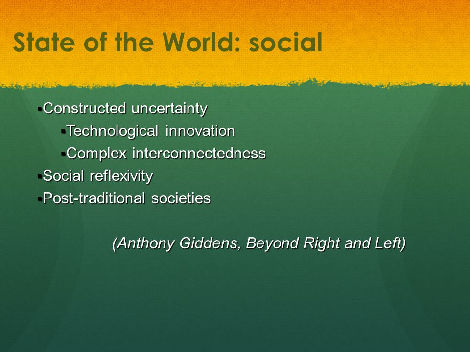 Constructed uncertainty  Technological innovation  Complex interconnectedness  Social reflexivity  Post-traditional societies (Anthony Giddens, Beyond Right and Left) (Anthony Giddens, Beyond Right and Left) State of the World: social