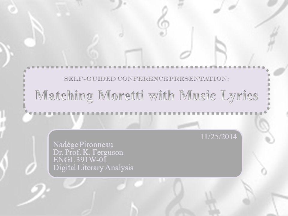 11/25/2014 Nadége Pironneau Dr. Prof. K. Ferguson ENGL 391W-01 Digital Literary Analysis