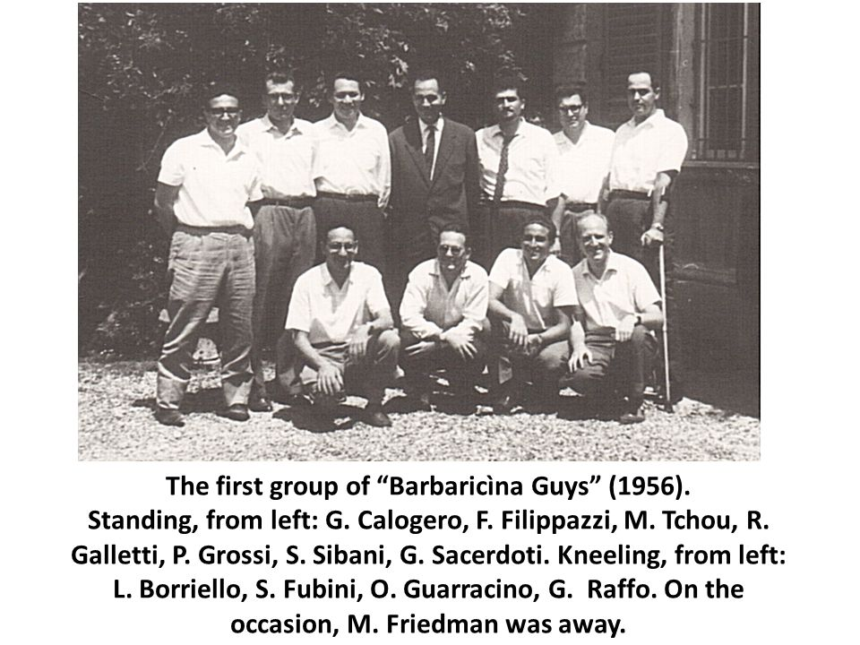 The first group of Barbaricìna Guys (1956). Standing, from left: G.