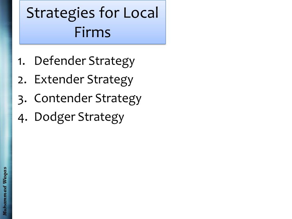 Muhammad Waqas Strategies for Local Firms 1.Defender Strategy 2.Extender Strategy 3.Contender Strategy 4.Dodger Strategy