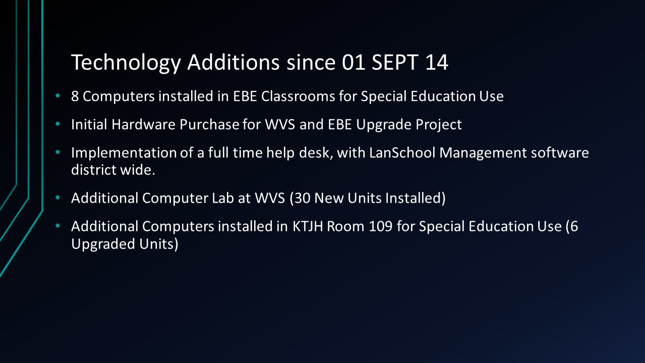 Technology Additions since 01 SEPT 14 8 Computers installed in EBE Classrooms for Special Education Use Initial Hardware Purchase for WVS and EBE Upgrade Project Implementation of a full time help desk, with LanSchool Management software district wide.