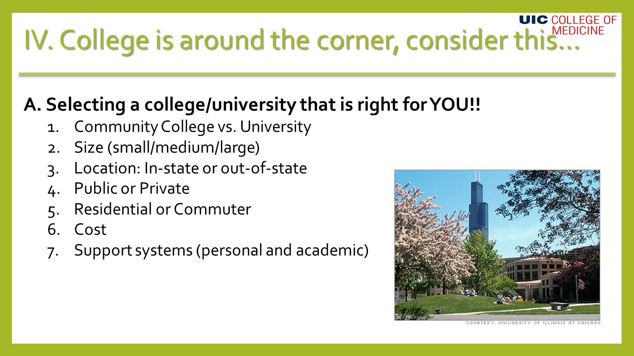 IV. College is around the corner, consider this… A.