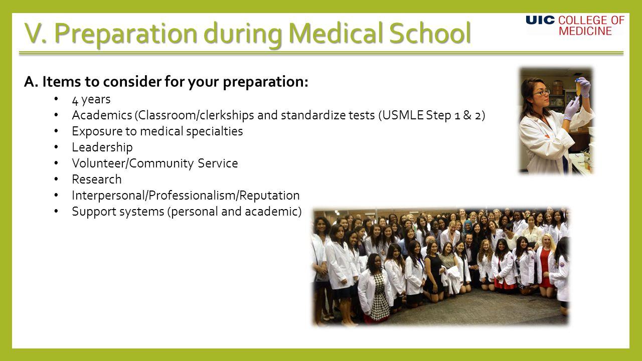 V. Preparation during Medical School A.