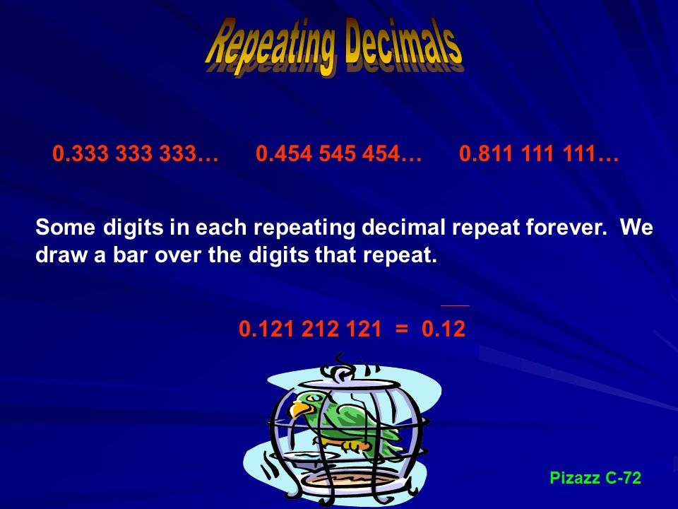 Divide the numerator by the denominator. 6 6 9 = 0.6 9 ÷
