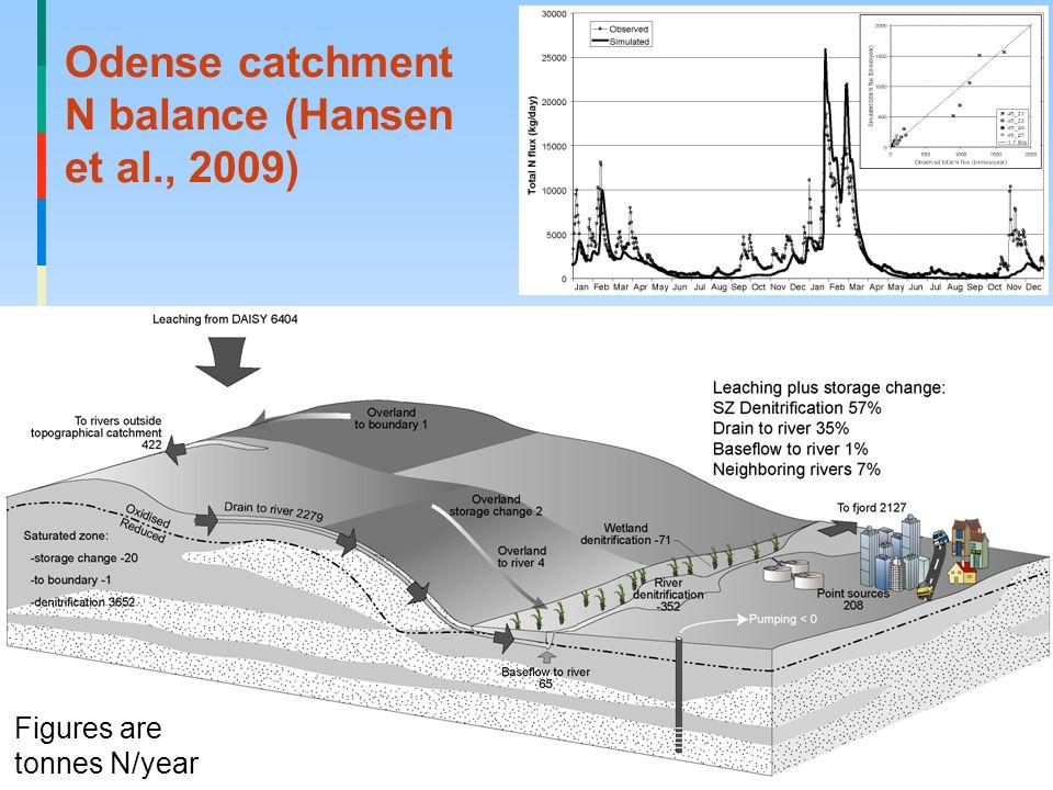 Odense catchment N balance (Hansen et al., 2009) Figures are tonnes N/year