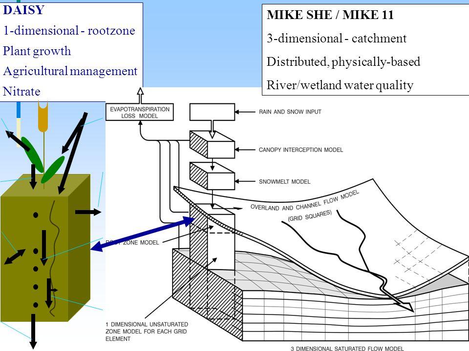 DAISY 1-dimensional - rootzone Plant growth Agricultural management Nitrate Pesticidtilførslen fordeles mellem plante- og jordoverflade som funktion af plantedækket Nedbrydning af pesticid i jorden beregnes som en 1.