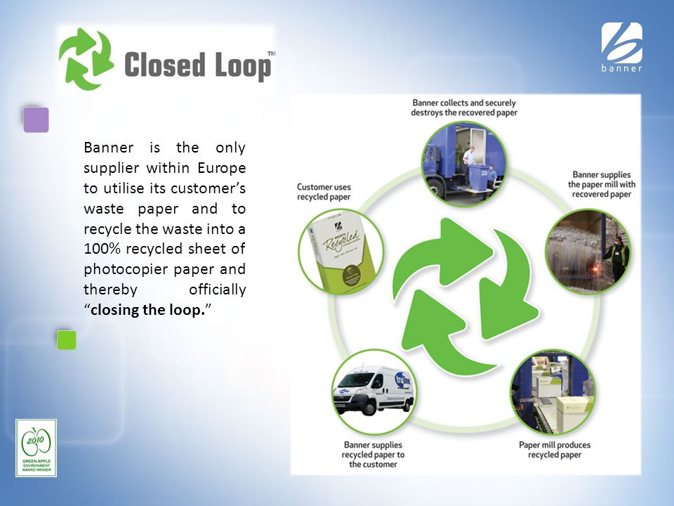 Closed Loop Banner is the only supplier within Europe to utilise its customer's waste paper and to recycle the waste into a 100% recycled sheet of photocopier paper and thereby officially closing the loop.