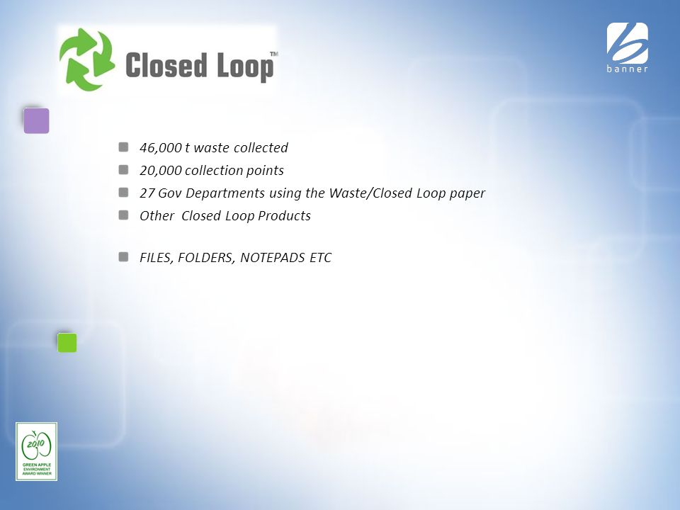Closed Loop 46,000 t waste collected 20,000 collection points 27 Gov Departments using the Waste/Closed Loop paper Other Closed Loop Products FILES, FOLDERS, NOTEPADS ETC