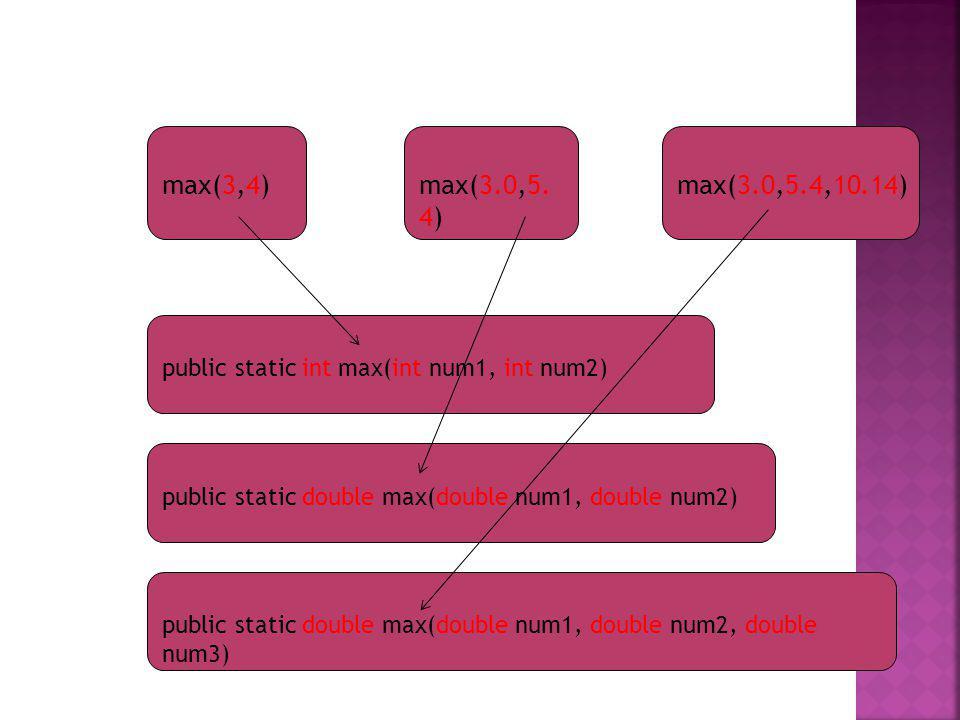 max(3,4)max(3.0,5. 4) max(3.0,5.4,10.14) public static int max(int num1, int num2) public static double max(double num1, double num2) public static do