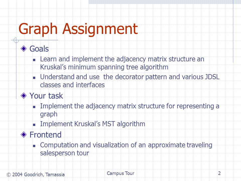 © 2004 Goodrich, Tamassia Campus Tour2 Graph Assignment Goals Learn and implement the adjacency matrix structure an Kruskal's minimum spanning tree algorithm Understand and use the decorator pattern and various JDSL classes and interfaces Your task Implement the adjacency matrix structure for representing a graph Implement Kruskal's MST algorithm Frontend Computation and visualization of an approximate traveling salesperson tour
