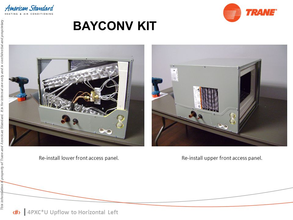 13 This information is property of Trane and American Standard. It is for internal use only and is confidential and proprietary. BAYCONV KIT Re-instal