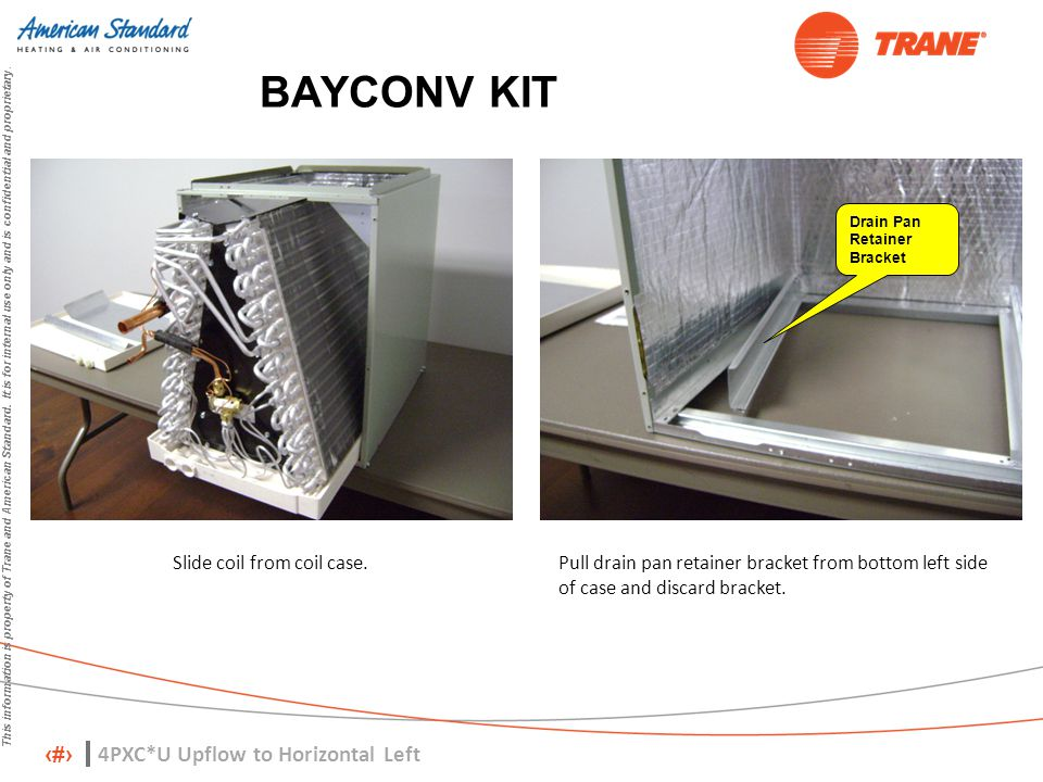 5 This information is property of Trane and American Standard. It is for internal use only and is confidential and proprietary. BAYCONV KIT Slide coil