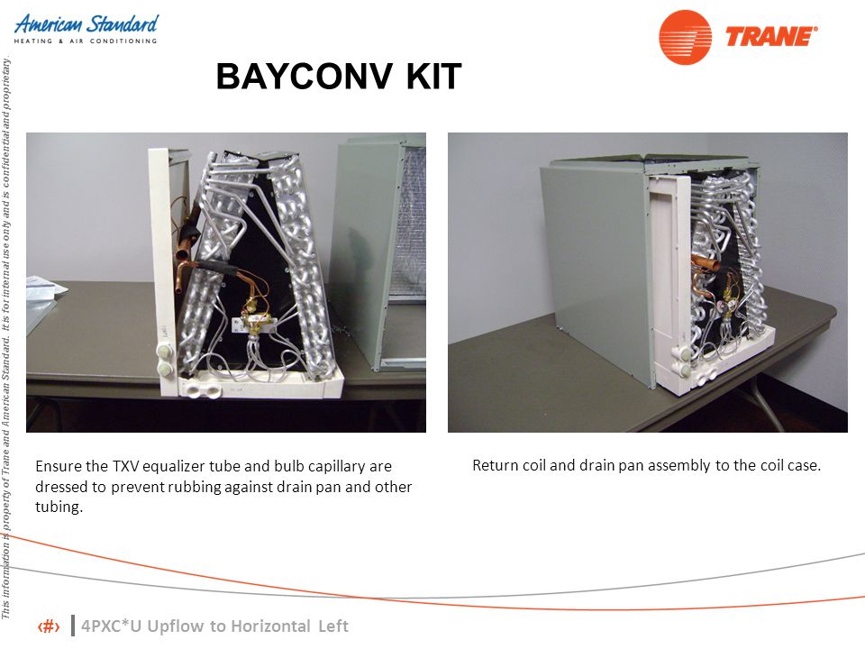 7 This information is property of Trane and American Standard. It is for internal use only and is confidential and proprietary. BAYCONV KIT Ensure the