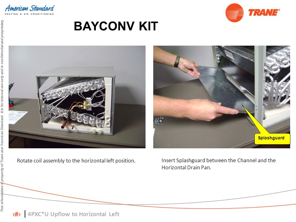 8 This information is property of Trane and American Standard. It is for internal use only and is confidential and proprietary. BAYCONV KIT Rotate coi