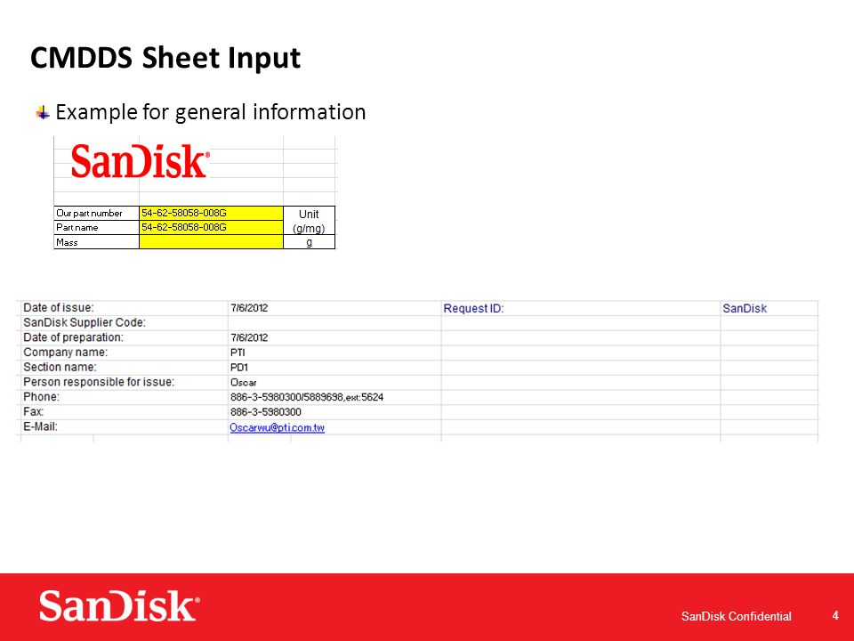 SanDisk Confidential 15 BOM and Material Weight Sheet Input Completely disclose the BOM materials used in the BOM spread sheet.