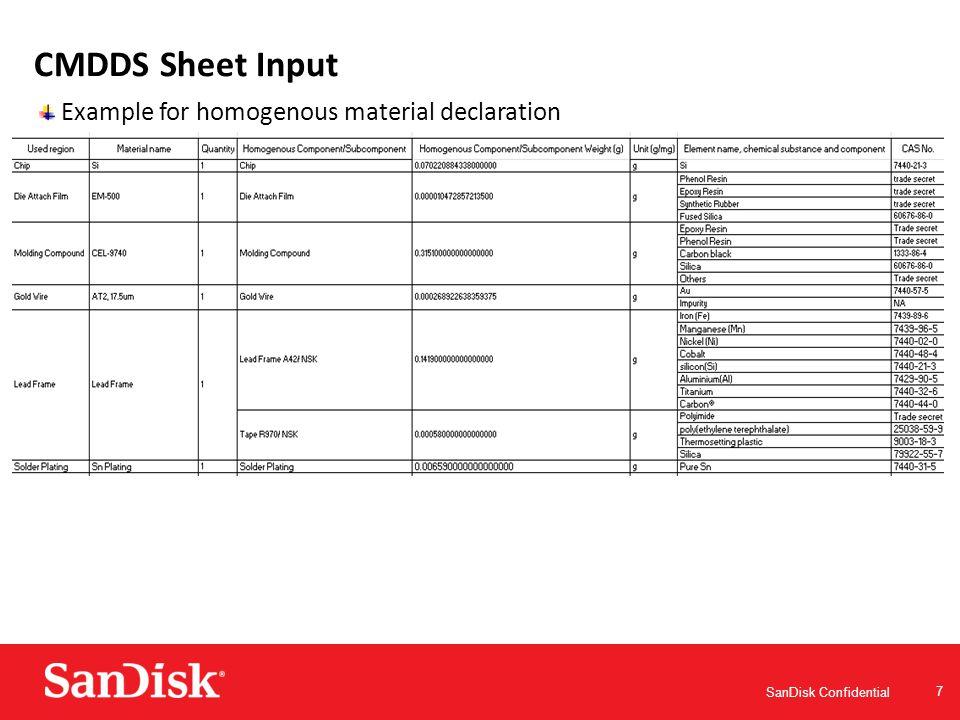 SanDisk Confidential 8 CMDDS Sheet Input Example for homogenous material declaration