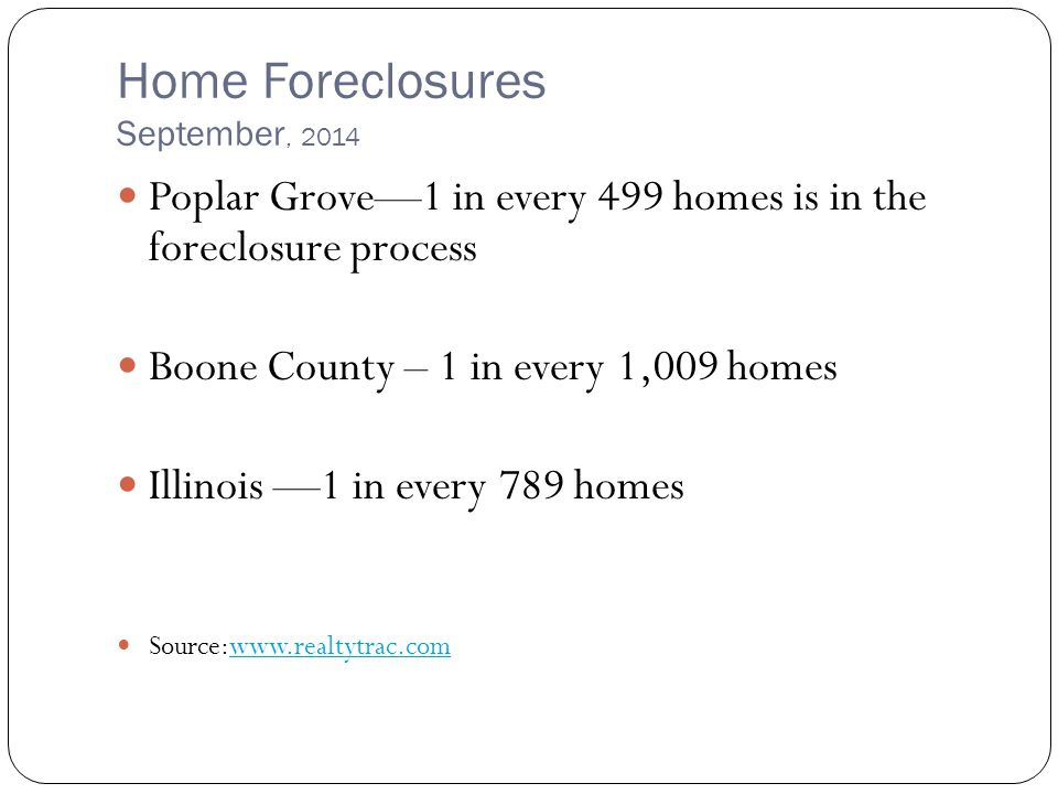 Home Foreclosures September, 2014 Poplar Grove—1 in every 499 homes is in the foreclosure process Boone County – 1 in every 1,009 homes Illinois —1 in every 789 homes Source:www.realtytrac.comwww.realtytrac.com
