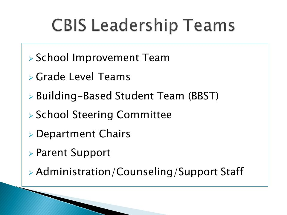  School Improvement Team  Grade Level Teams  Building-Based Student Team (BBST)  School Steering Committee  Department Chairs  Parent Support  Administration/Counseling/Support Staff