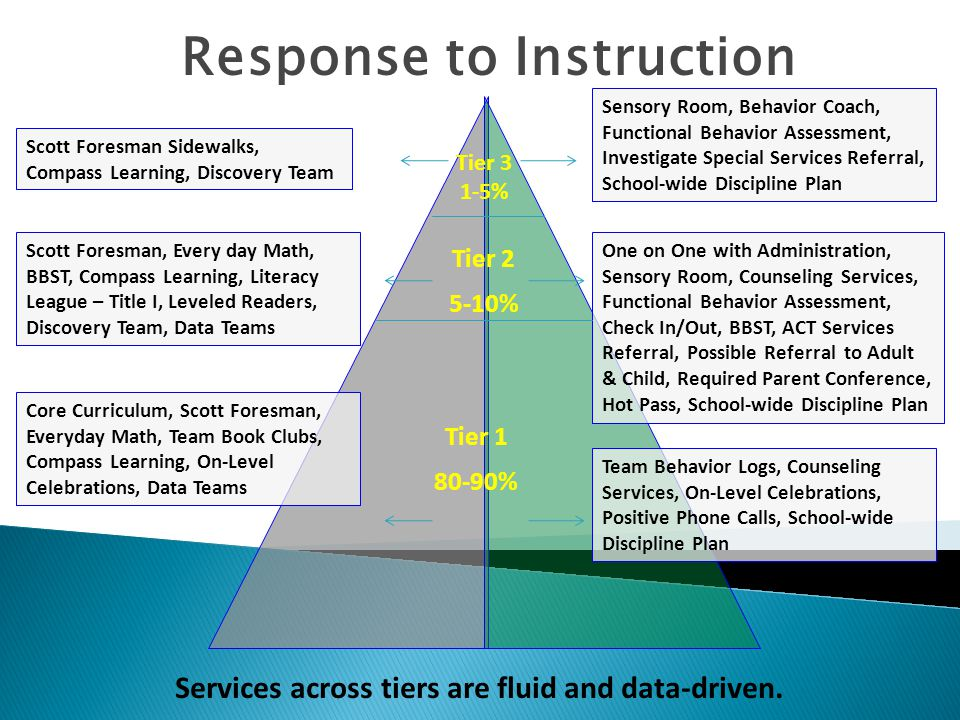 Response to Instruction Tier 2 5-10% Tier 1 80-90% Services across tiers are fluid and data-driven.
