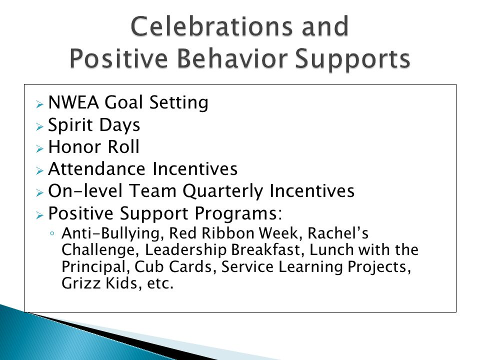  NWEA Goal Setting  Spirit Days  Honor Roll  Attendance Incentives  On-level Team Quarterly Incentives  Positive Support Programs: ◦ Anti-Bullying, Red Ribbon Week, Rachel's Challenge, Leadership Breakfast, Lunch with the Principal, Cub Cards, Service Learning Projects, Grizz Kids, etc.