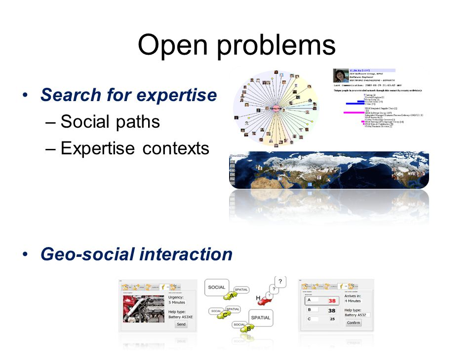 Open problems Search for expertise –Social paths –Expertise contexts Geo-social interaction