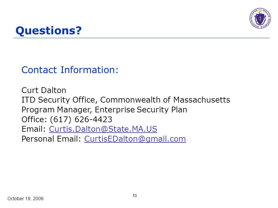 October 19, 2009 13 Questions.