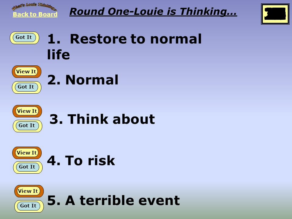 Back to Board START Round One Louie is thinking about… Synonyms