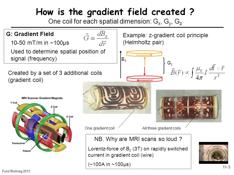 Fund BioImag 2013 11-4 On-resonance: Frequency  RF of RF field B 1 matches the precession frequency of magnetization How is slice-selection achieved .