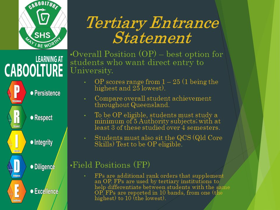 Tertiary Entrance Statement Overall Position (OP) – best option for students who want direct entry to University.