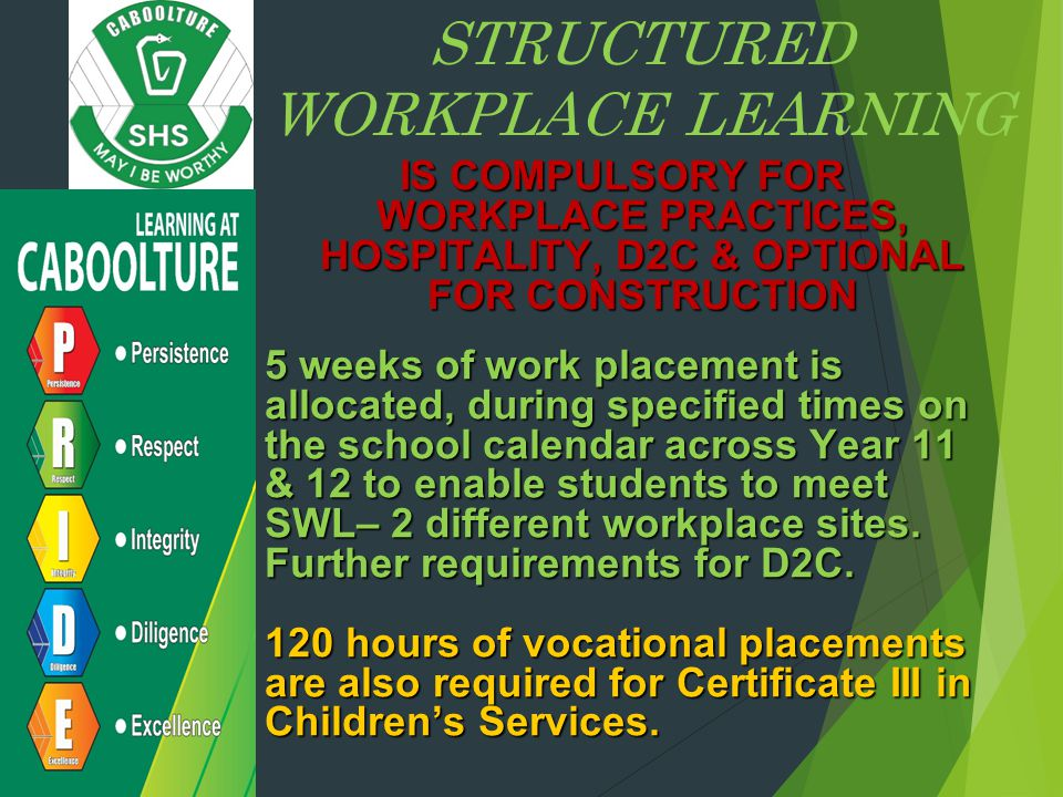 STRUCTURED WORKPLACE LEARNING IS COMPULSORY FOR WORKPLACE PRACTICES, HOSPITALITY, D2C & OPTIONAL FOR CONSTRUCTION 5 weeks of work placement is allocated, during specified times on the school calendar across Year 11 & 12 to enable students to meet SWL– 2 different workplace sites.