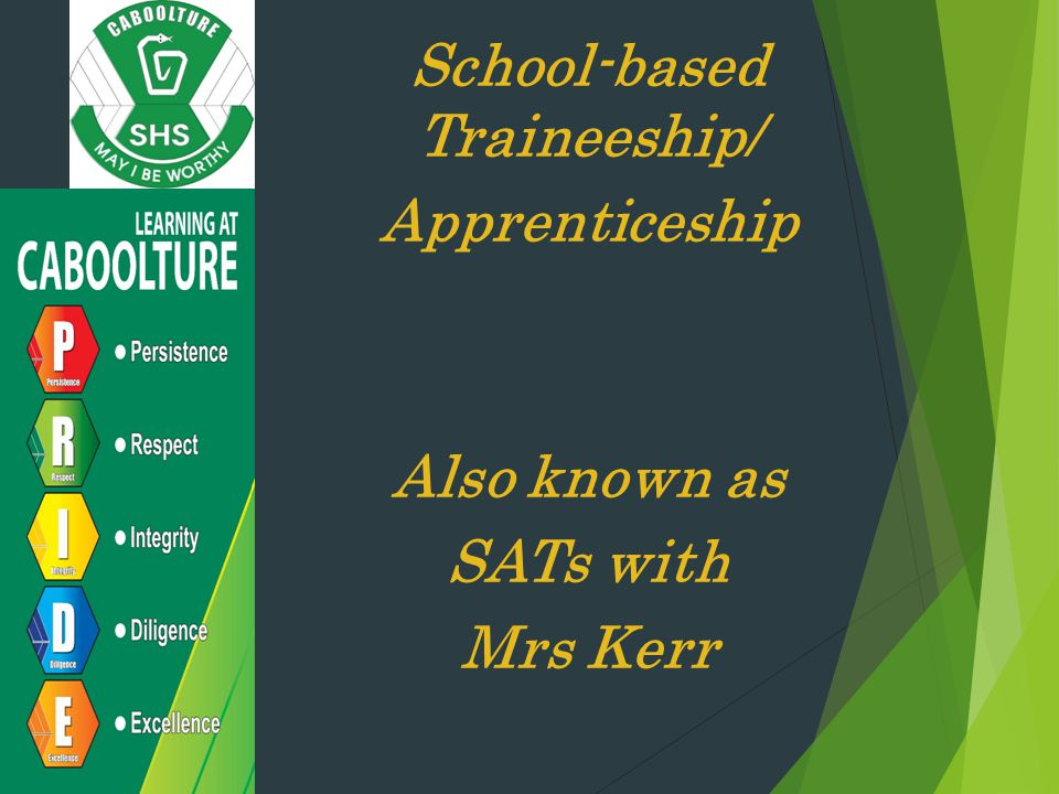 School-based Traineeship/ Apprenticeship Also known as SATs with Mrs Kerr