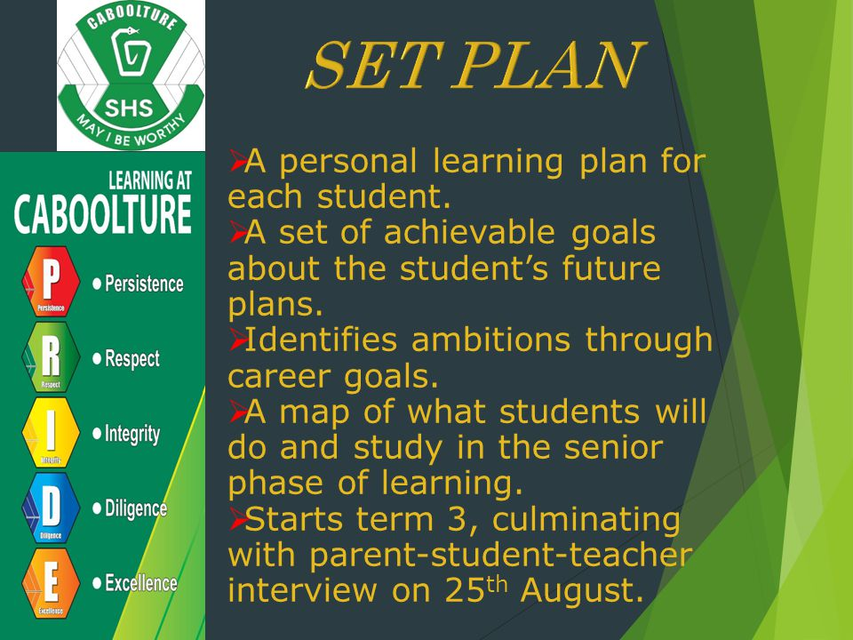  A personal learning plan for each student.