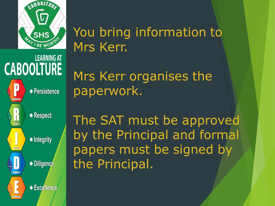 You bring information to Mrs Kerr.Mrs Kerr organises the paperwork.