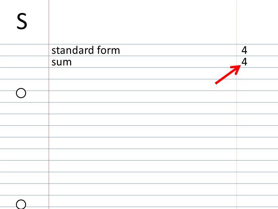 S standard form4 sum4