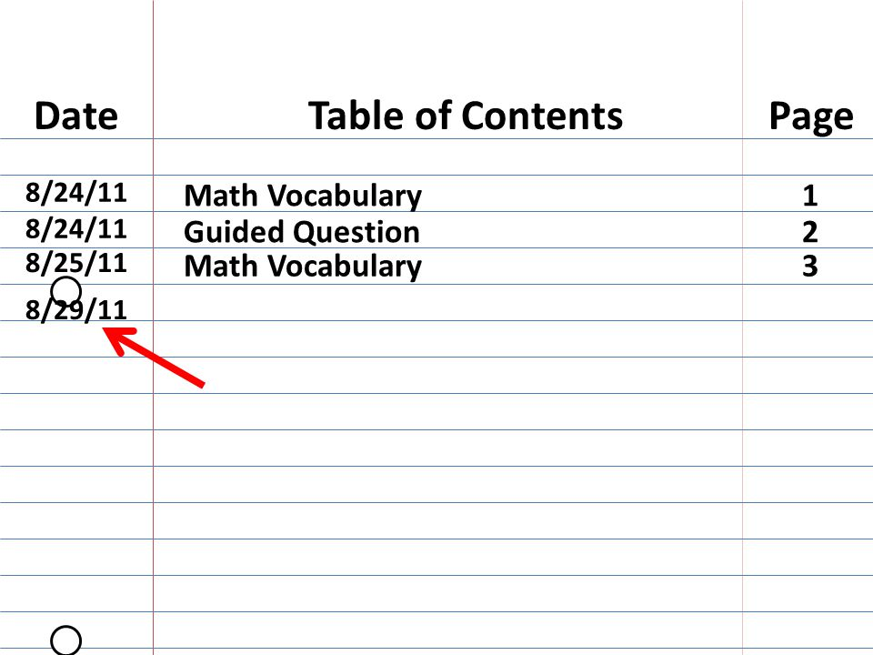 Table of ContentsDatePage 8/24/11 Math Vocabulary1 Guided Question2 8/25/11 Math Vocabulary3 8/29/11