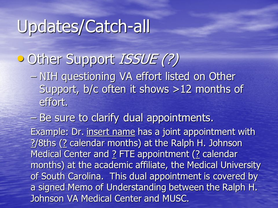 Updates/Catch-all Other Support ISSUE (?) Other Support ISSUE (?) –NIH questioning VA effort listed on Other Support, b/c often it shows >12 months of effort.