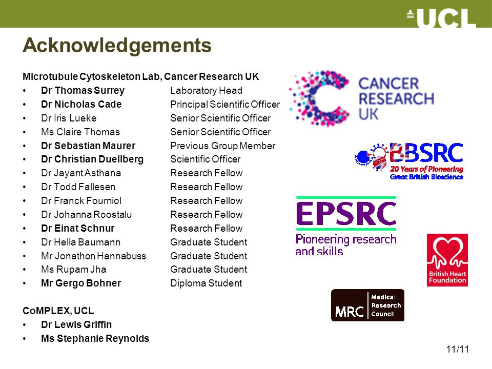 Acknowledgements Microtubule Cytoskeleton Lab, Cancer Research UK Dr Thomas Surrey Laboratory Head Dr Nicholas Cade Principal Scientific Officer Dr Ir
