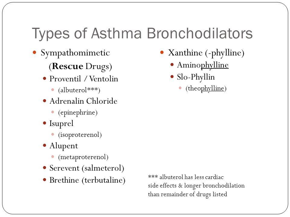 Types of Asthma Bronchodilators Sympathomimetic (Rescue Drugs) Proventil / Ventolin (albuterol***) Adrenalin Chloride (epinephrine) Isuprel (isoproterenol) Alupent (metaproterenol) Serevent (salmeterol) Brethine (terbutaline) Xanthine (-phylline) Aminophylline Slo-Phyllin (theophylline) *** albuterol has less cardiac side effects & longer bronchodilation than remainder of drugs listed
