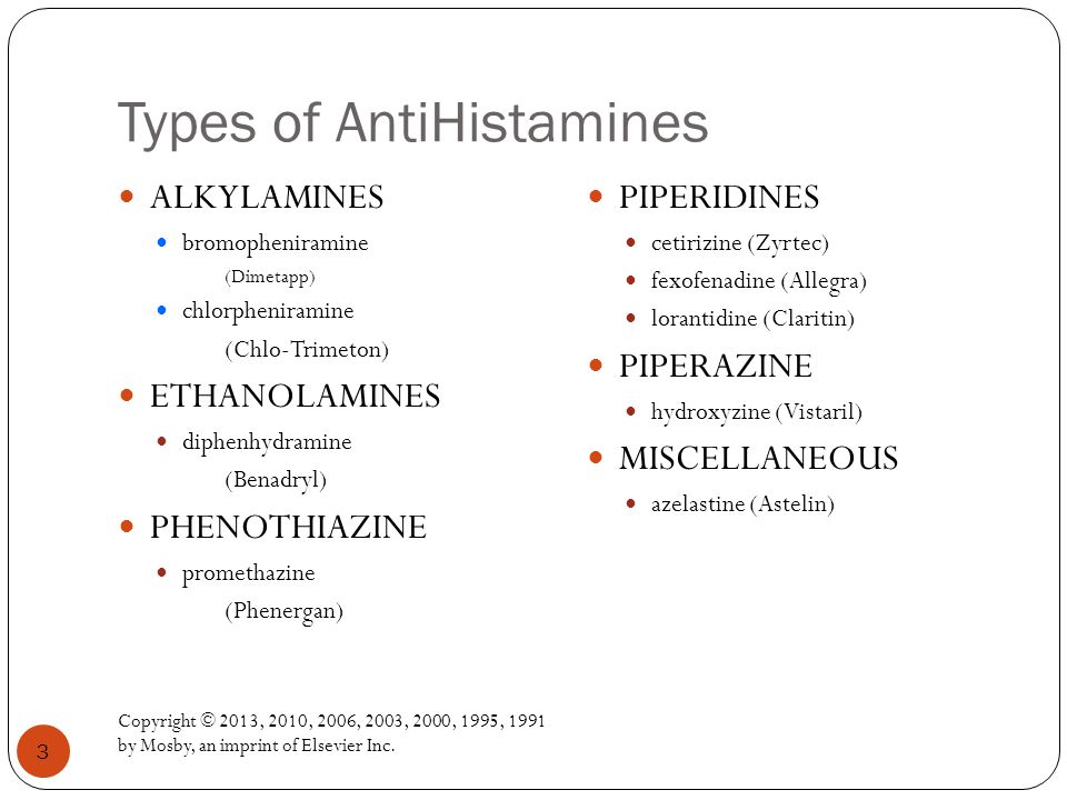 Types of AntiHistamines Copyright © 2013, 2010, 2006, 2003, 2000, 1995, 1991 by Mosby, an imprint of Elsevier Inc.