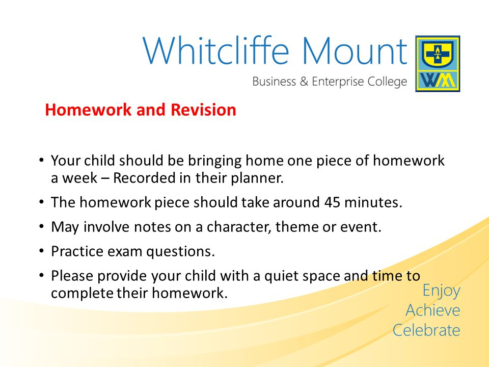 Homework and Revision Your child should be bringing home one piece of homework a week – Recorded in their planner.
