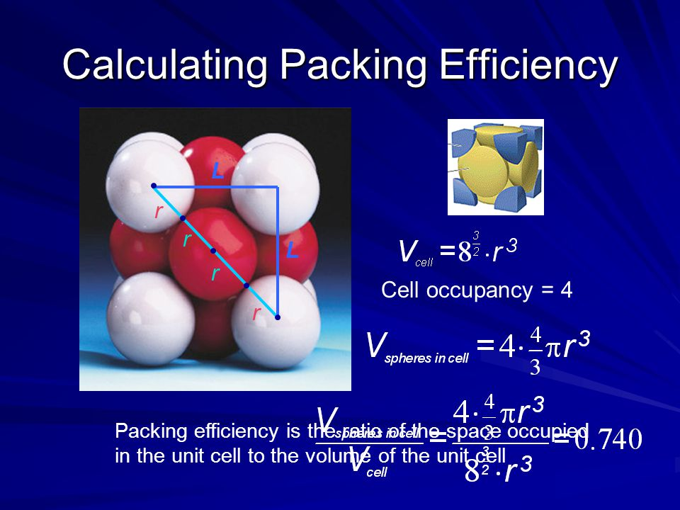Calculating Packing Efficiency L L Packing efficiency is the ratio of the space occupied in the unit cell to the volume of the unit cell Cell occupanc